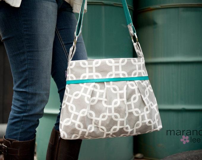 Stella Diaper Bag Medium -Grey Gotcha with Teal - 6 pockets Adjustable Strap - Custom Made to Order