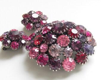 SALE Vintage Purple Pink Schrager Rhinestone Brooch & Earrings 50s