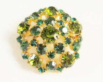 Vintage Emerald Olive Green Rhinestone Brooch signed Austria
