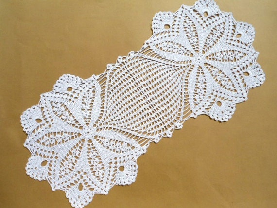 Oval crochet doily table decoration center piece by kroshetmania