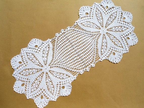Crochet Oval : Oval crochet doily table decoration center piece by kroshetmania