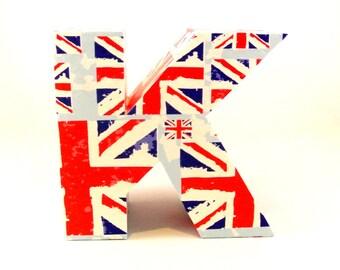 Union Jack Custom Letters Personalised Gift for Him British Flag UK Wedding Present Home Bedroom Decor Office Shelf Ornament Red Blue White