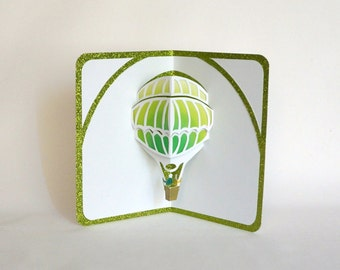 HOT AIR BALLOON 3D Pop Up Greeting Card Home Décor Cut by Hand in White on Shimmery Metallic Neon Green with Yellow and Green Shades OOaK