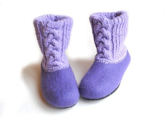 Felted slippers with rubber soles- house shoes - lilac