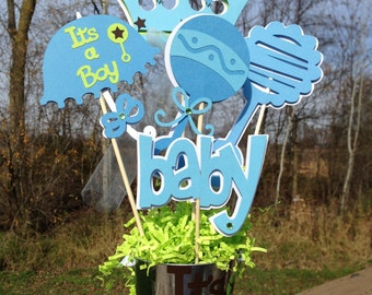 Baby Shower Table Decoration Centerpiece Prince Blues and Greens