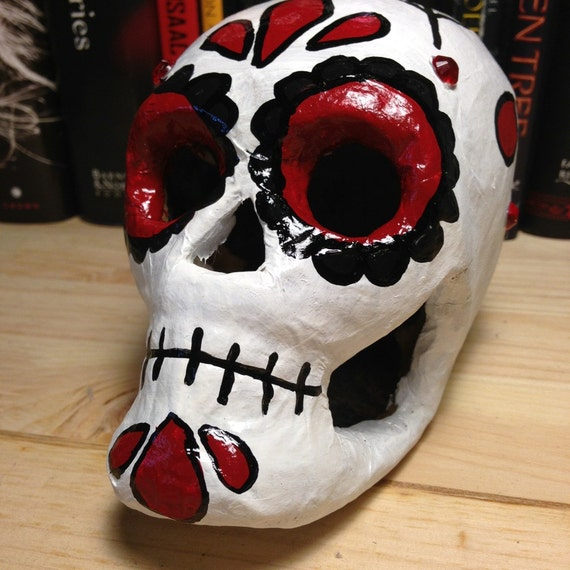Red and Black Day of the Dead Skull