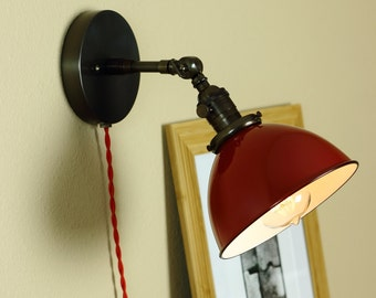 Industrial Wall Lamp - Articulating Wall Sconce Lighting - RED Porcelain Enamel Shade - Hand Finished in Oil Rubbed Bronze
