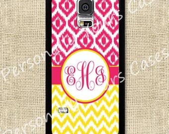 Monogram Phone - Galaxy S5 - Note 4 - Yellow Ikat Chevrons & Hot Pink Ikat Diamonds - Rubber or Tough Case