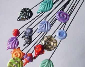 100 assorted handmade glass headpins