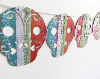 Sugar Skull Banner, Sweet Halloween Decoration, Unspooky October Decor, Dio De Los Muertos Party, Short Bunting Banner, Teal and Red