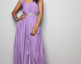 Purple Maxi dress - Long Elegant Halter Dress  : Oriental Princess Collection