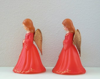 Red Christmas Angel Figurines Gold Wings 7 Inch Large Mantle Decor PAIR Set of 2 Red Angels Christmas Angels Christmas in July Angel Statue