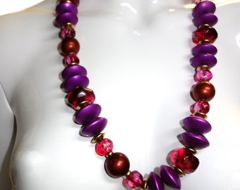 YSL Yves Saint Laurent Red & Magenta Beaded Necklace