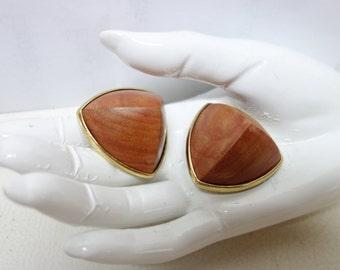 Vintage YSL Yves Saint Laurent Wooden Clip Earrings