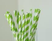 25 Lime Green and White Striped Paper Straws - with Printable Mini Chevron Straw Flag PDF