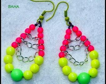 EARRINGS - BAHA - Exciting Neon Bead Dangle Earrings,Colorful Earrings,Trendy Earrings