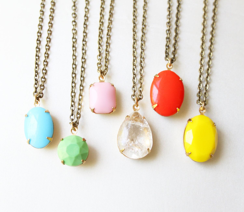 Vintage Colored Glass Cabochon Necklace, Set Stone Necklace, Colored Stone Necklace, Bezel Necklace, Rhinestone Necklace
