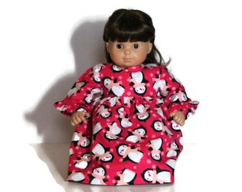 Doll Nightie Pink Penguins Black White Flannel Christmas Pajamas Nightgown Winter Bitty Twin 14 to 16 in Baby Doll -US Shipping Included