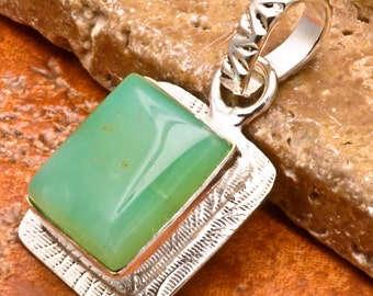 Natural Chrysoprase silver plated pendant   (#J73)