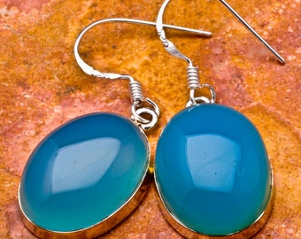 Natural Blue Chalcedony 925 sterling silver earrings (#J397)