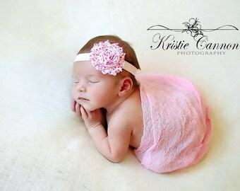 Valentines shabby flower, Valentines headband, newborn valentines headband