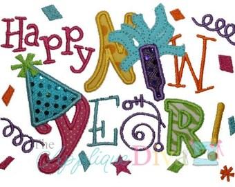 Happy New Year Digital Embroidery Design Machine Applique
