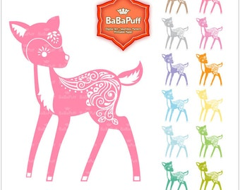 12 Colors Fawn Baby Deer Clipart. Birthday Card, Paper Cut DIY Handmade Crafts Projects. Personal and Small Commercial Use. BP 0757