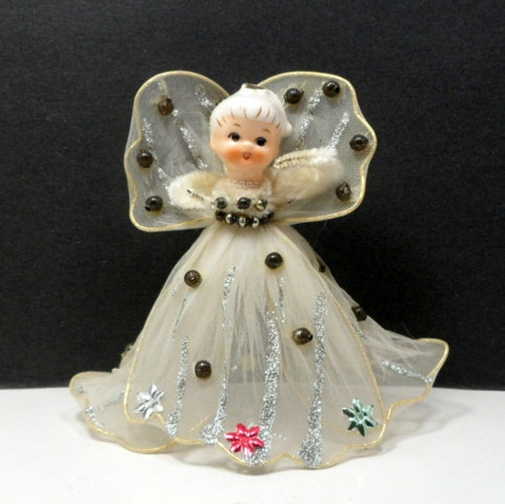 Small Angel Christmas Tree Topper: Vintage Christmas Tulle Angel Tree Topper Japan Original Box
