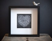 So Loved - Chalkboard black and white heart hand-lettered print