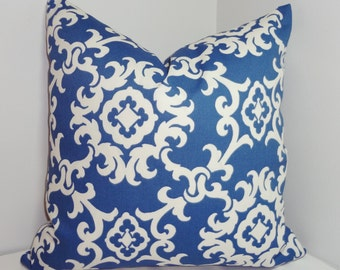 OUTDOOR Blue & White Suzani Pillow Cover Cushion Cover Porch Decorative Pillow Choose Size