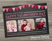 Chalkboard Flag Banner Valentines Photo Card, Valentine's Day Card (Digital File) - I Design, You Print