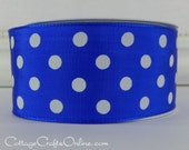 "Wired Ribbon Polka Dot 1 1/2"" Royal Blue with White Dots - THREE YARD ROLL - ""Polka Dots"" Summer, July 4th Craft Wire Edged Ribbon"