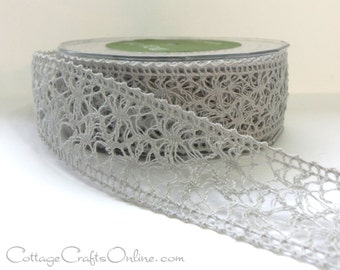 "SALE! Lace Ribbon, 1 1/2"" wide, Light Gray - Fifteen Yard Roll - May Arts, Crochet Style Craft Ribbon, Sewing Trim, Embellishment"