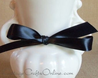 """CLEARANCE! Satin Ribbon, 3/8"""" Black Double Face - 100 YARD ROLL - Offray Narrow Satin Black dfs #030, Wedding Ribbon, Sewing Trim, Packaging"""