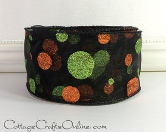 "Halloween Wired Ribbon, 2 1/2"",  Black with Orange and Green Glitter Polka Dots - THREE YARDS -  ""Dot Glitz"" Wire Edged Craft Ribbon"