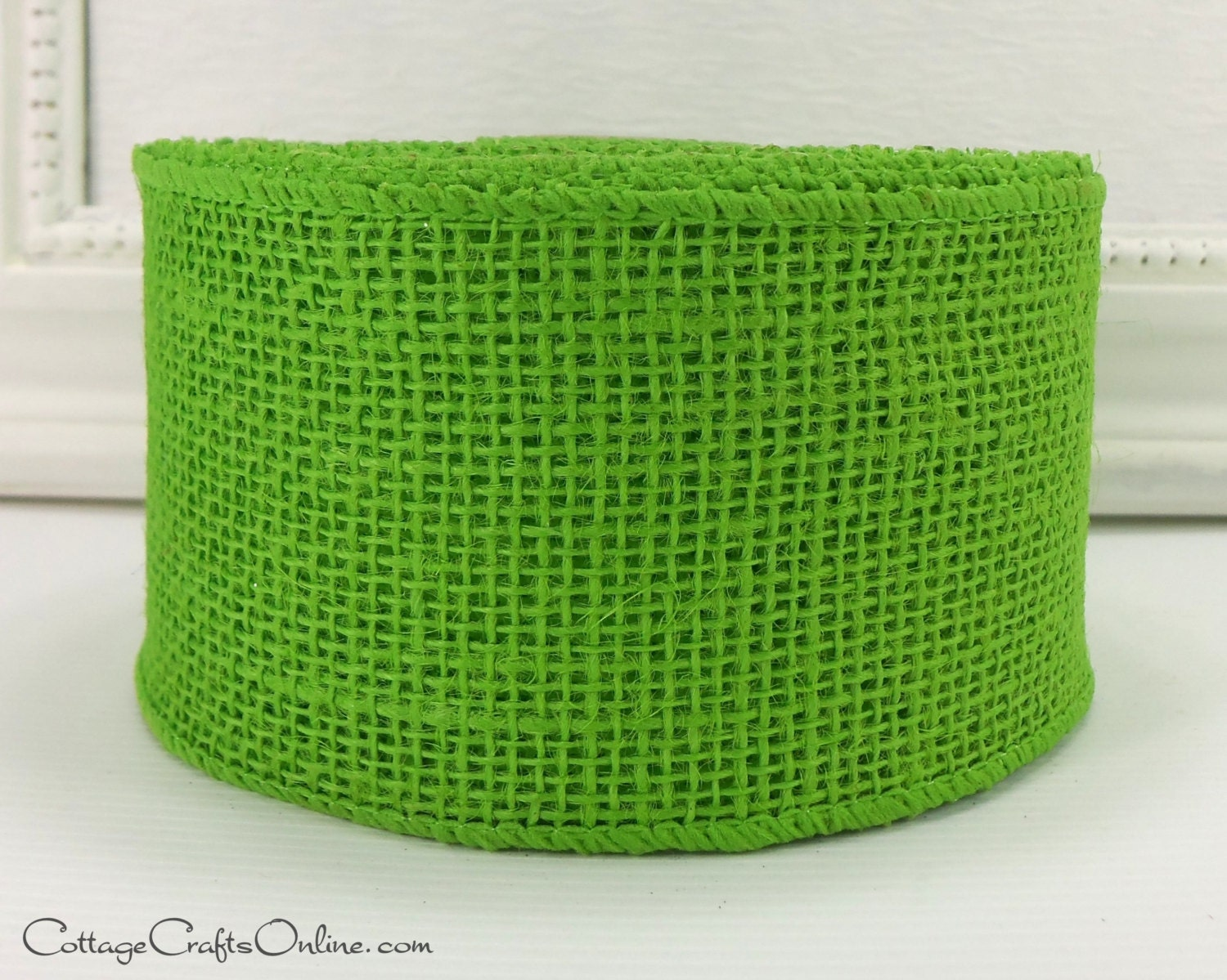 Clearance burlap wired ribbon 2 1 2 lime green natural for Green burlap ribbon