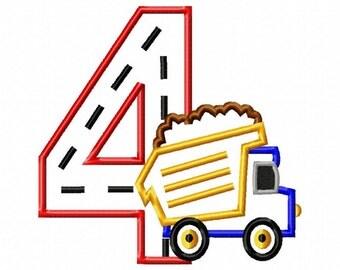 Dump Truck - 4 - Applique - Machine Embroidery Design -  5 sizes