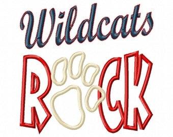Wildcats ROCK - Paw Print - Applique - Machine Embroidery Design -  8 sizes