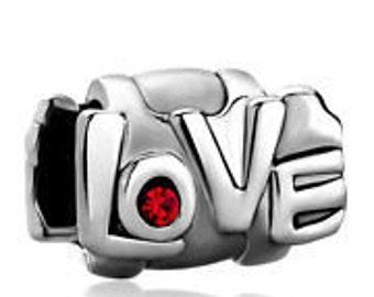 LOVE  Silver  Metal Spacer Beads Fit  European Charm Bracelet