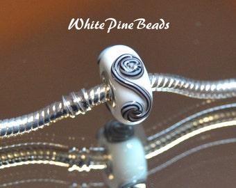 Black and White Raised S Swirl Designer Beads Murano Glass Bead Fits European  Style Bracelets