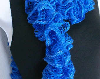 Ruffle scarf hand knit BLUE colors with shiny silver