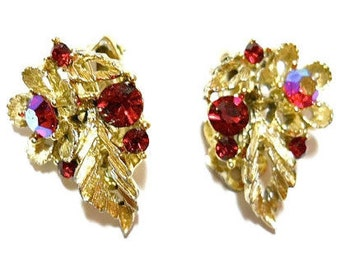 Vintage Rhinestone Earrings Red AB Lisner 1950s