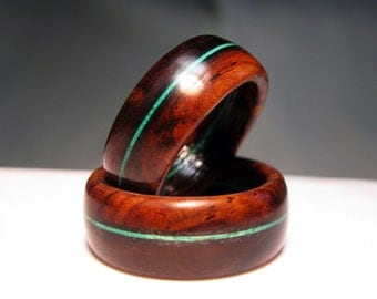 Couples Wooden Rings - Pair of Cocobolo Wood Rings