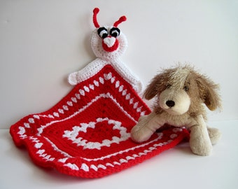 Love Bug Crochet Granny Square Security Blanket for Baby - Love Bug with Red and White Square For Valentine's Day