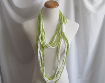 Infinity Crochet Scarf Cowl Cotton Necklace - Lime Green and White