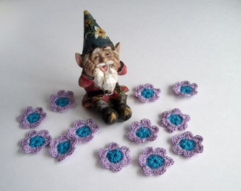 12 Crochet Flowers Mini - Purple Lavender and Aqua Turquoise - Set of 12