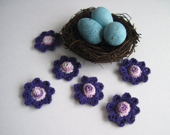 6 Thread Crochet Flowers - Cone Centers with Pedals - Shades of Purple and Dark Purple (Set of 6)