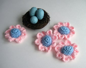 4 Flower Appliques - Crochet in Baby Blue and Baby Pink - Blue Cone Centers with Pink Pedals (Set of 4)