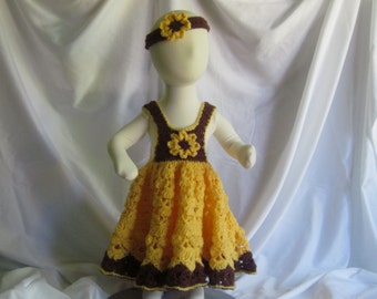 Baby Dress and Headband - Frilly and Full in Brown and Yellow Sunflower - Newborn Up to 3 Months