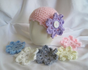 Baby Hat Crochet in Pink with Interchangeable Button Flowers - Newborn to 3 Months
